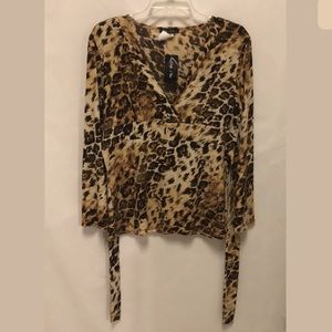 Only Nine Tops - Only Nine Leopard Print Faux Wrap Top w/ Tie-Back